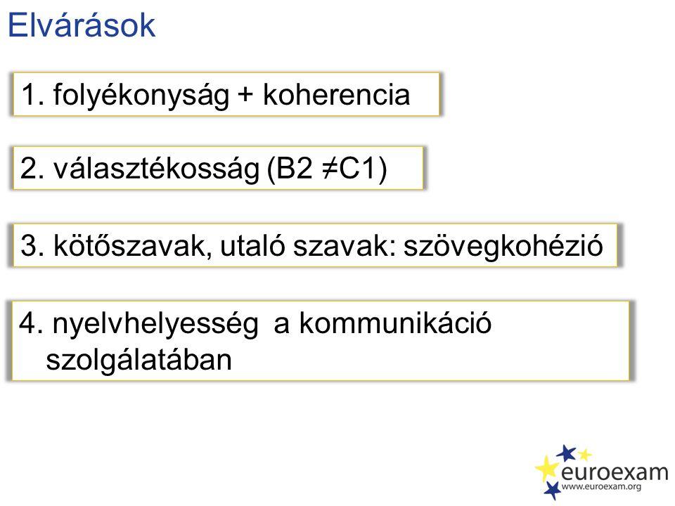 Elvárások 2. választékosság (B2 ≠C1) 1. folyékonyság + koherencia 3. kötőszavak, utaló szavak: szövegkohézió 4. nyelvhelyesség a kommunikáció szolgála