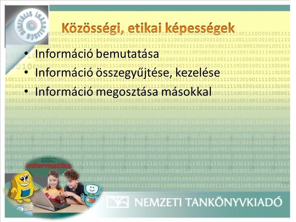 Információ bemutatása Információ összegyűjtése, kezelése Információ megosztása másokkal