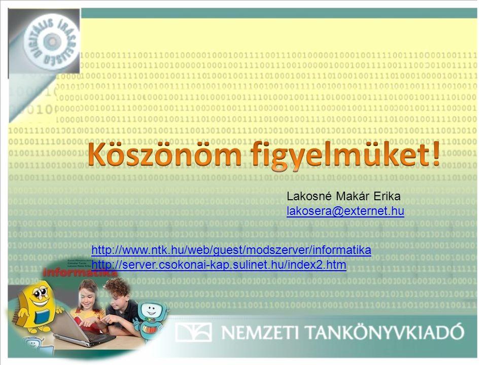 Lakosné Makár Erika lakosera@externet.hu http://www.ntk.hu/web/guest/modszerver/informatika http://server.csokonai-kap.sulinet.hu/index2.htm