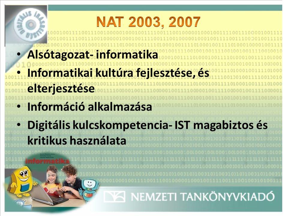 Alsótagozat- informatika Informatikai kultúra fejlesztése, és elterjesztése Információ alkalmazása Digitális kulcskompetencia- IST magabiztos és kritikus használata