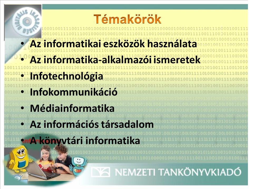 Az informatikai eszközök használata Az informatika-alkalmazói ismeretek Infotechnológia Infokommunikáció Médiainformatika Az információs társadalom A könyvtári informatika