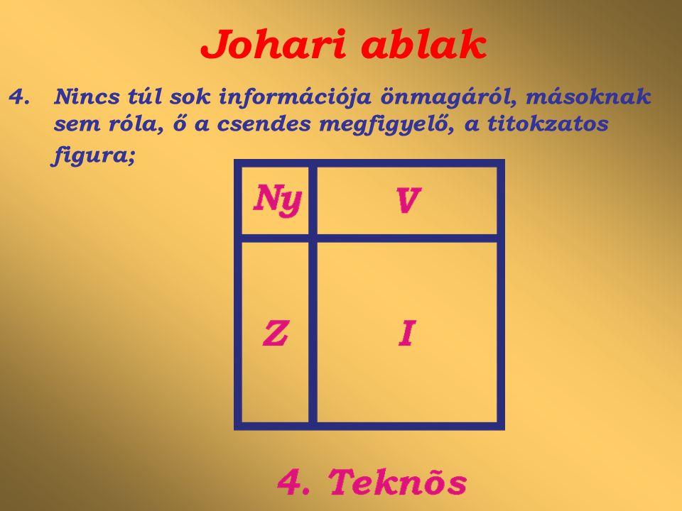 Johari ablak 4.Nincs túl sok információja önmagáról, másoknak sem róla, ő a csendes megfigyelő, a titokzatos figura;