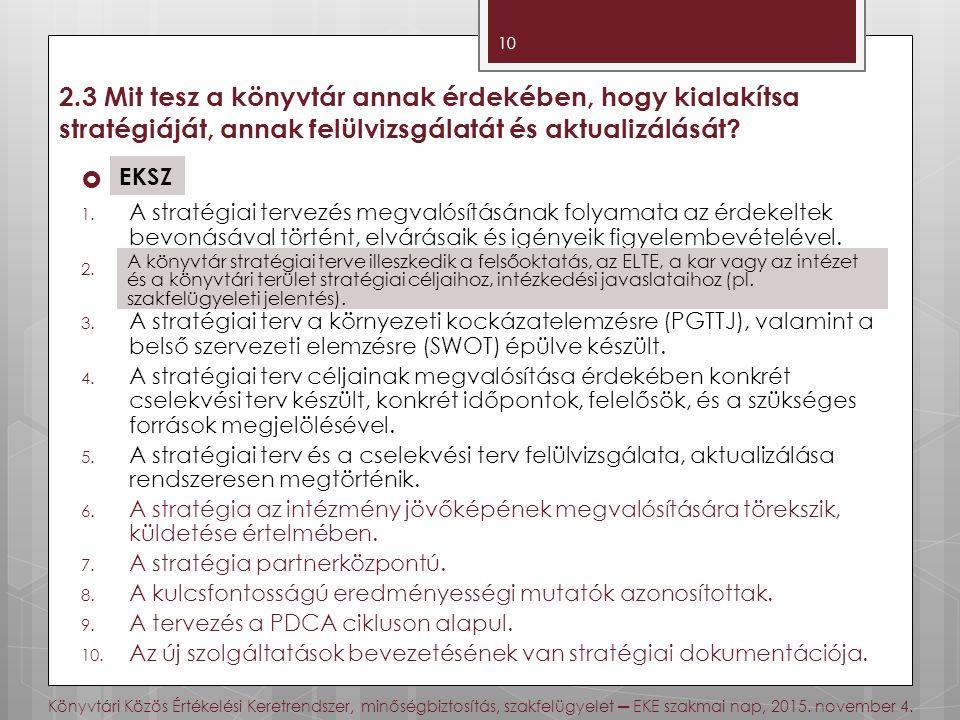 Könyvtári Közös Értékelési Keretrendszer, minőségbiztosítás, szakfelügyelet ─ EKE szakmai nap, 2015.
