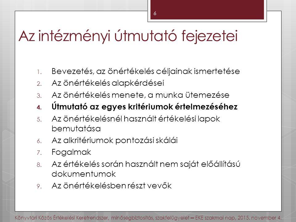 Az intézményi útmutató fejezetei 1.Bevezetés, az önértékelés céljainak ismertetése 2.