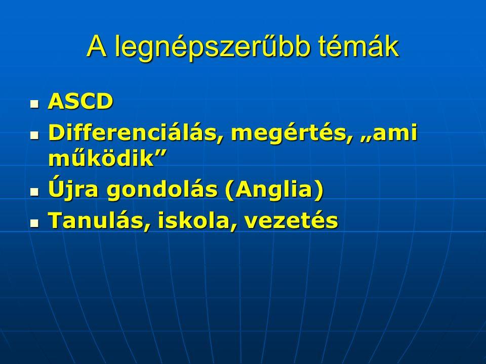 """A legnépszerűbb témák ASCD ASCD Differenciálás, megértés, """"ami működik Differenciálás, megértés, """"ami működik Újra gondolás (Anglia) Újra gondolás (Anglia) Tanulás, iskola, vezetés Tanulás, iskola, vezetés"""
