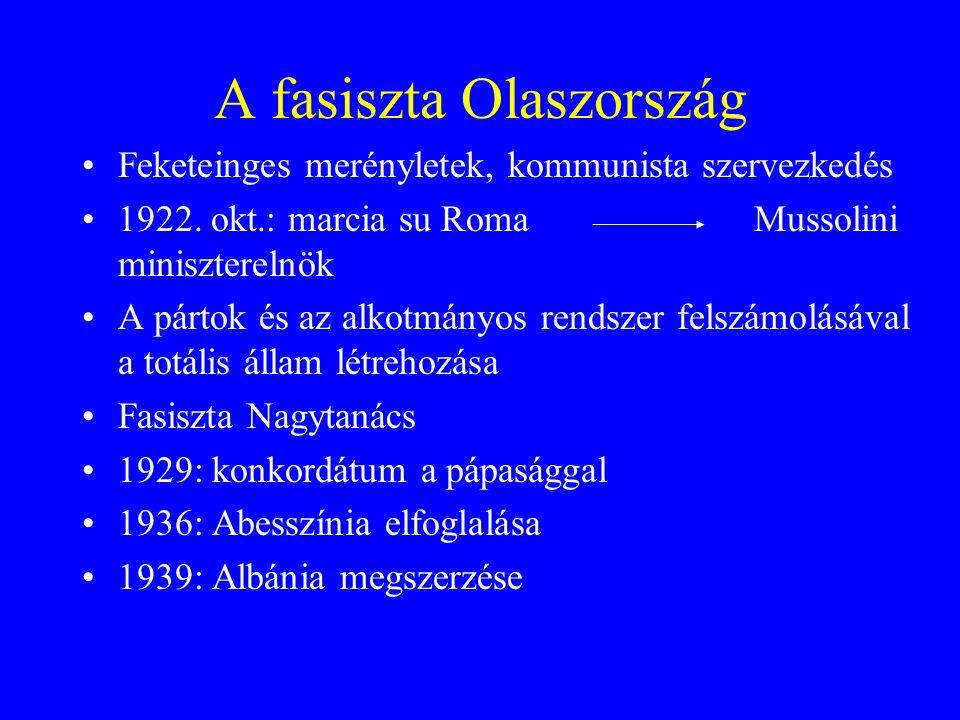 A fasiszta Olaszország Feketeinges merényletek, kommunista szervezkedés 1922.