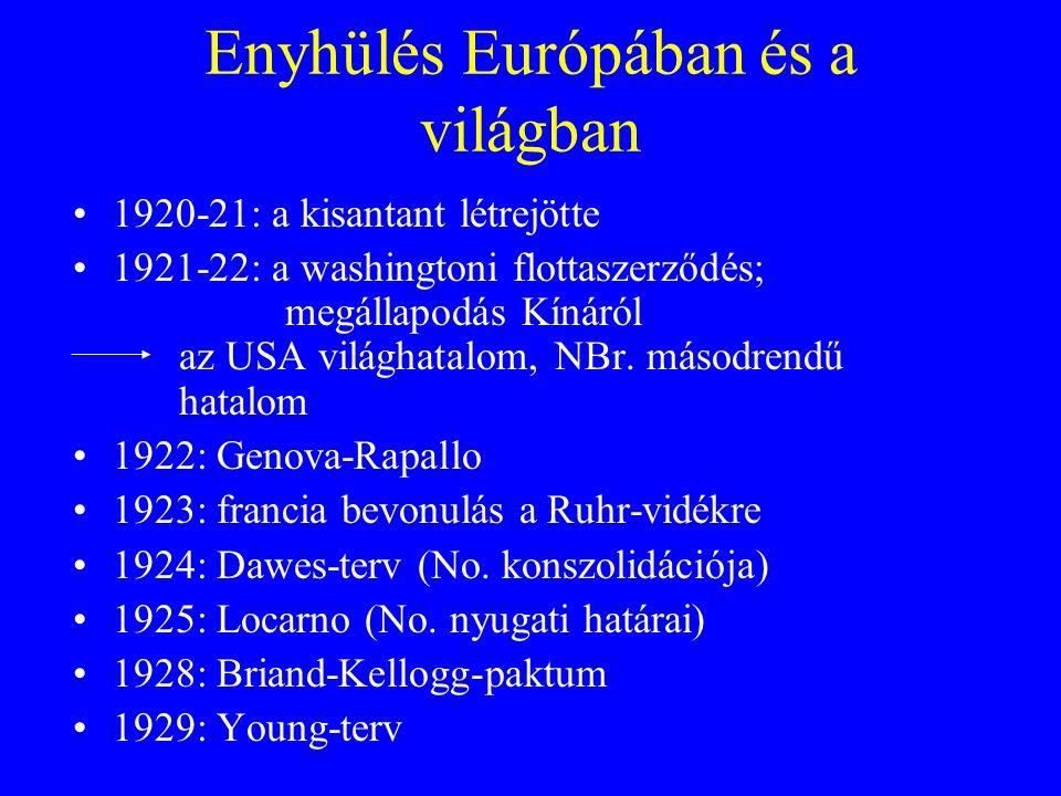 Enyhülés Európában és a világban 1920-21: a kisantant létrejötte 1921-22: a washingtoni flottaszerződés; megállapodás Kínáról az USA világhatalom, NBr.