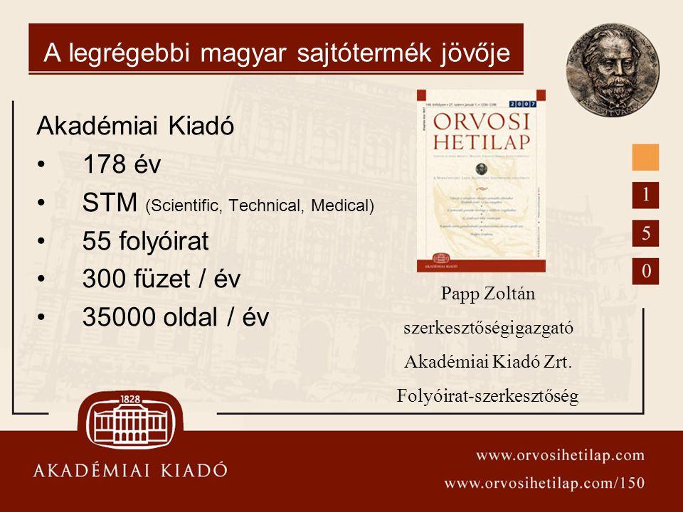 A legrégebbi magyar sajtótermék jövője Akadémiai Kiadó 178 év STM (Scientific, Technical, Medical) 55 folyóirat 300 füzet / év 35000 oldal / év Papp Z
