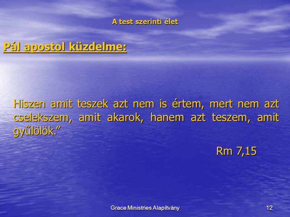 12 A test szerinti élet Pál apostol küzdelme: Hiszen amit teszek azt nem is értem, mert nem azt cselekszem, amit akarok, hanem azt teszem, amit gyűlölök. Rm 7,15 Grace Ministries Alapítvány