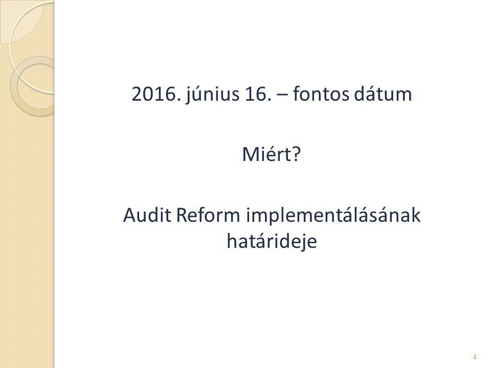 2016. június 16. – fontos dátum Miért? Audit Reform implementálásának határideje 4