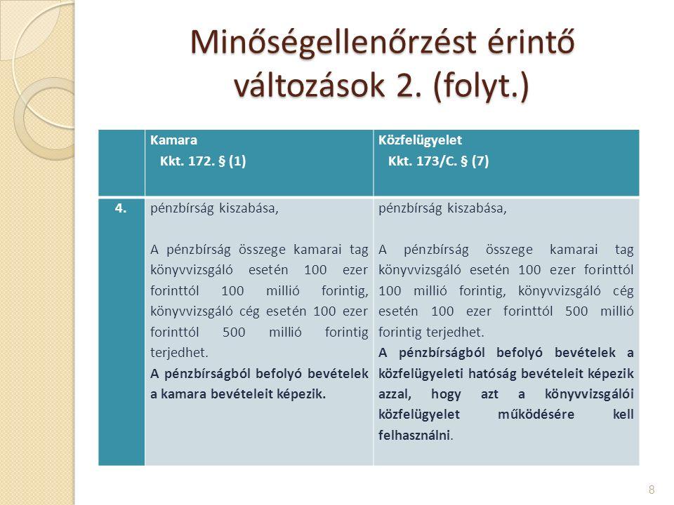 Minőségellenőrzést érintő változások 2.(folyt.) 8 Kamara Kkt.