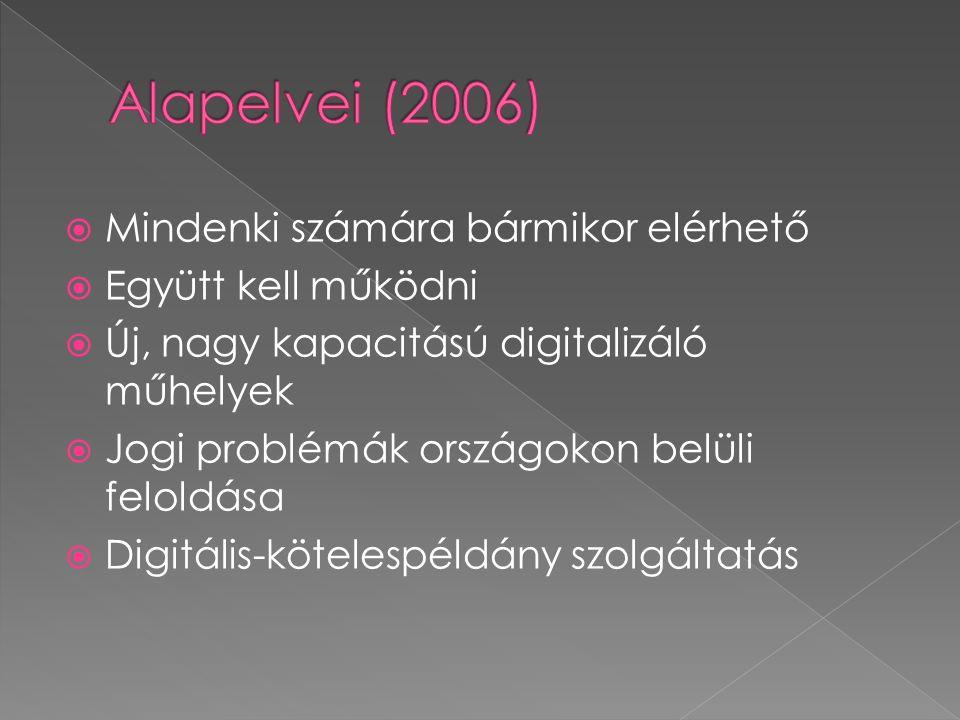  Mindenki számára bármikor elérhető  Együtt kell működni  Új, nagy kapacitású digitalizáló műhelyek  Jogi problémák országokon belüli feloldása 