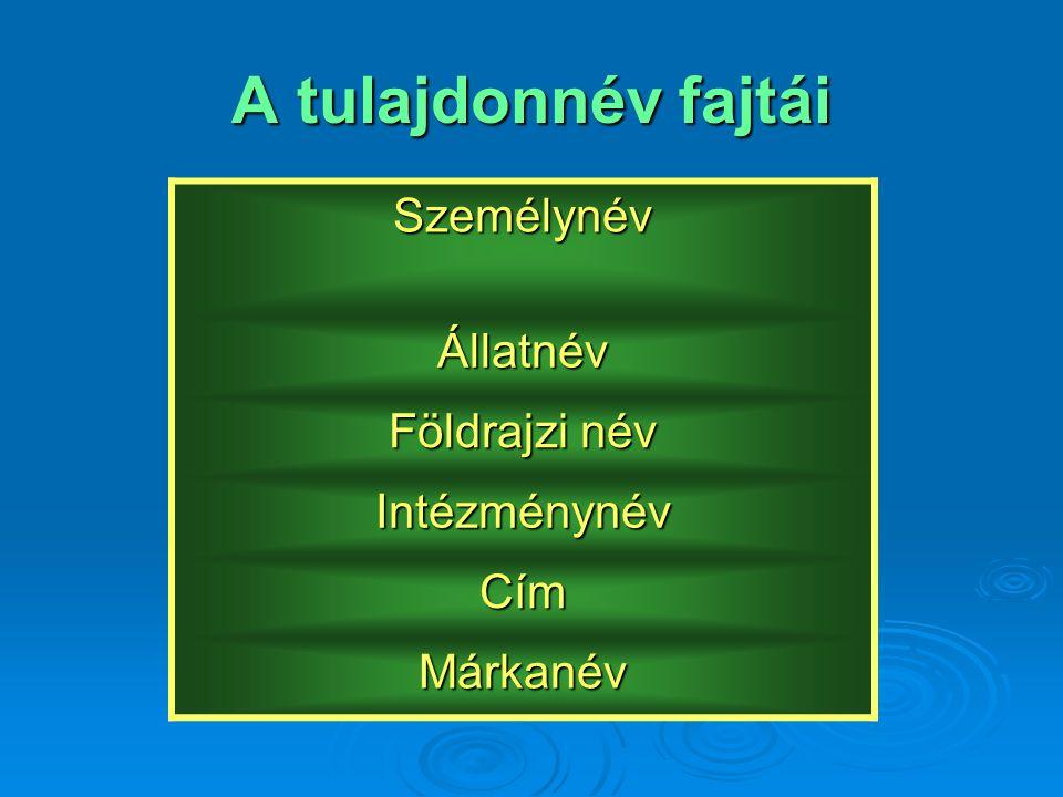 A tulajdonnév fajtái Személynév Állatnév Földrajzi név Intézménynév Cím Márkanév