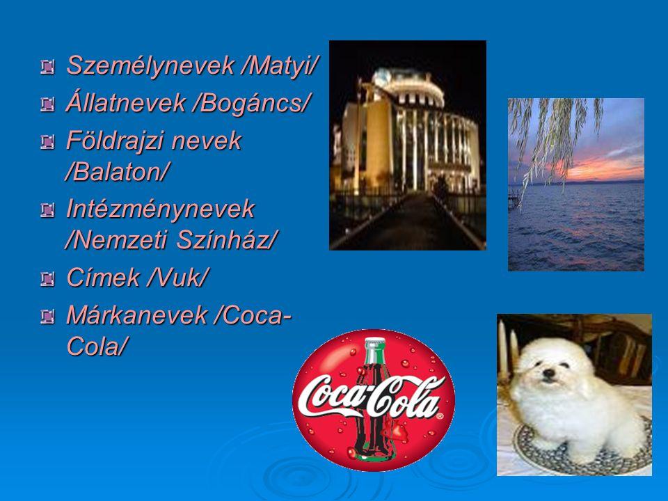 A főnevek helyesírása A közneveket kis kezdőbetűvel, a tulajdonneveket nagy kezdőbetűvel írjuk.