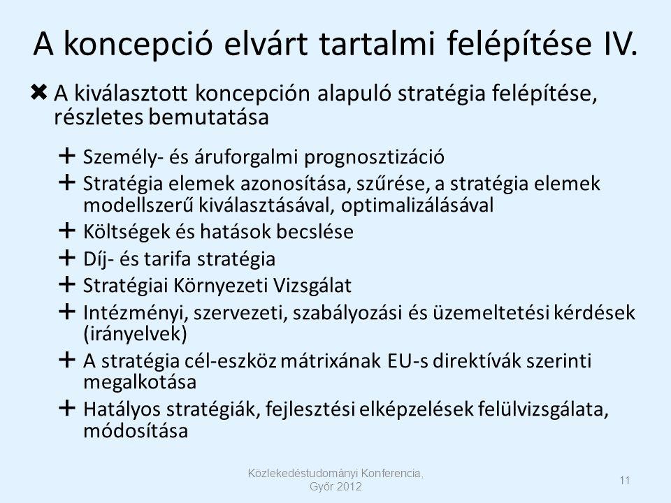 A koncepció elvárt tartalmi felépítése IV.  A kiválasztott koncepción alapuló stratégia felépítése, részletes bemutatása  Személy- és áruforgalmi pr