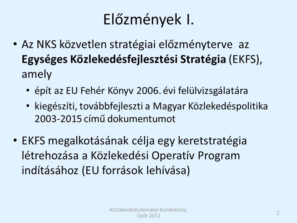 Előzmények I. Az NKS közvetlen stratégiai előzményterve az Egységes Közlekedésfejlesztési Stratégia (EKFS), amely épít az EU Fehér Könyv 2006. évi fel