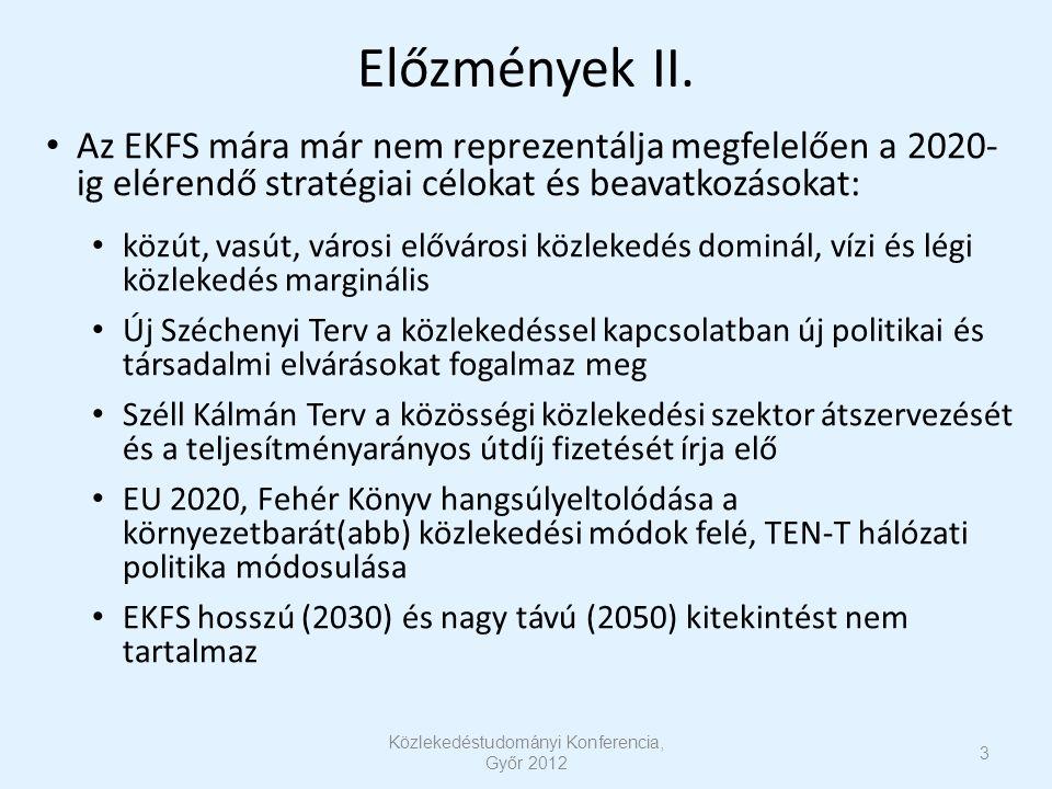 Előzmények II. Az EKFS mára már nem reprezentálja megfelelően a 2020- ig elérendő stratégiai célokat és beavatkozásokat: közút, vasút, városi előváros