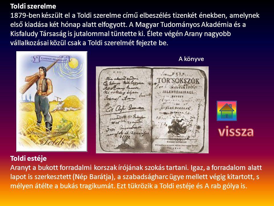 Toldi szerelme 1879-ben készült el a Toldi szerelme című elbeszélés tizenkét énekben, amelynek első kiadása két hónap alatt elfogyott. A Magyar Tudomá