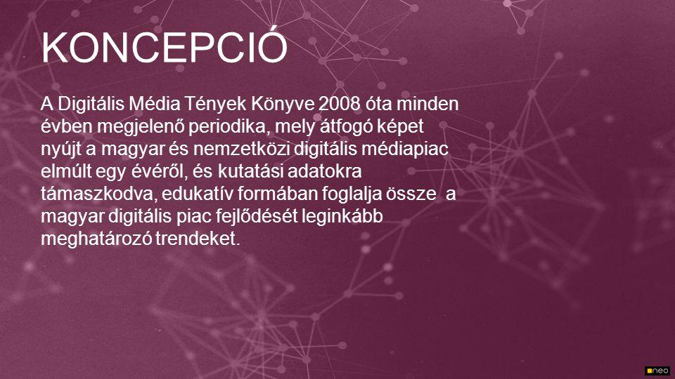 KONCEPCIÓ A Digitális Média Tények Könyve 2008 óta minden évben megjelenő periodika, mely átfogó képet nyújt a magyar és nemzetközi digitális médiapia