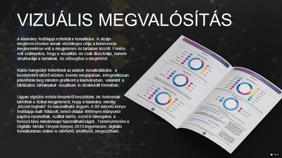 VIZUÁLIS MEGVALÓSÍTÁS A kiadvány fedőlapja reflektál a tematikára. A dizájn megtervezésekor annak elsődleges célja a koherencia megteremtése volt a me