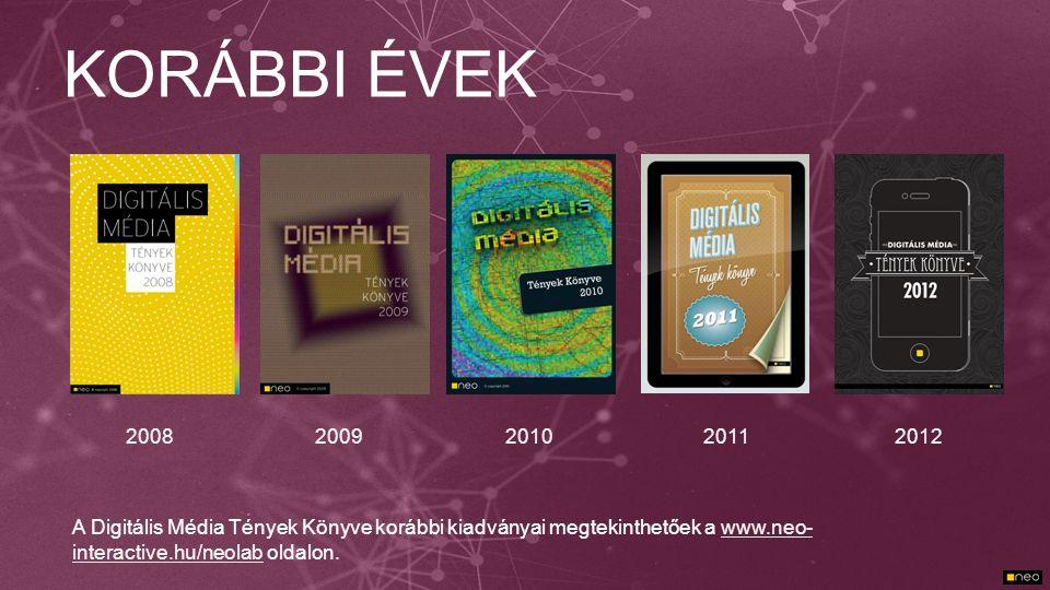 KORÁBBI ÉVEK 200820092011 A Digitális Média Tények Könyve korábbi kiadványai megtekinthetőek a www.neo- interactive.hu/neolab oldalon.www.neo- interac