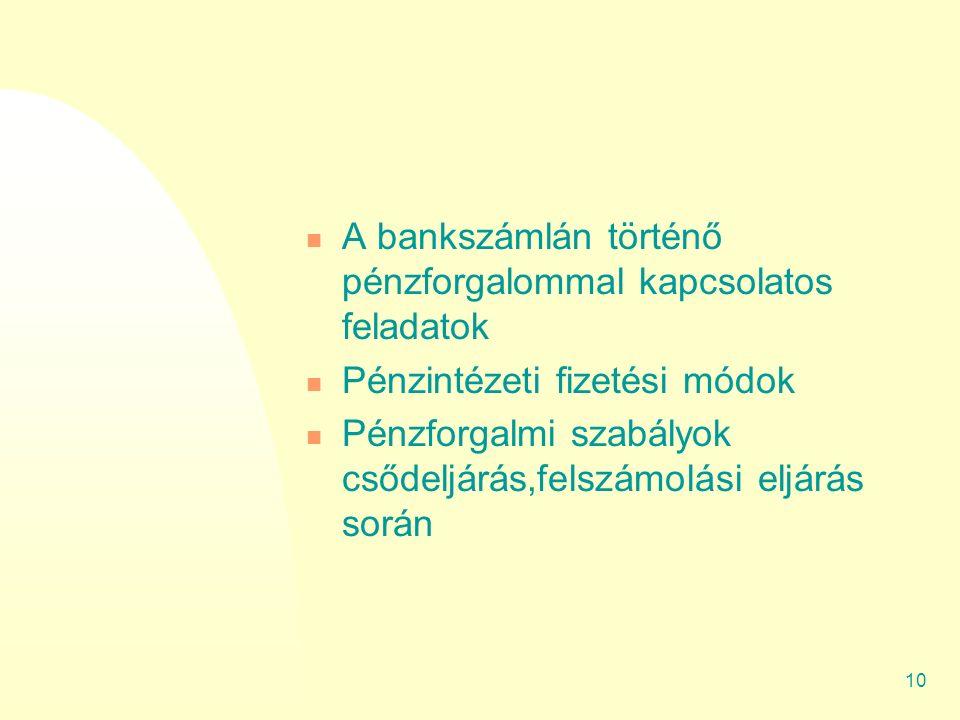 9 Ajánlott tartalom Hatályba léptető határozat Szabályzat célja Vállalkozás sajátosságai A vállalkozás legfőbb pénzügyi feladatai A pénzkezelés legfőbb feladatai