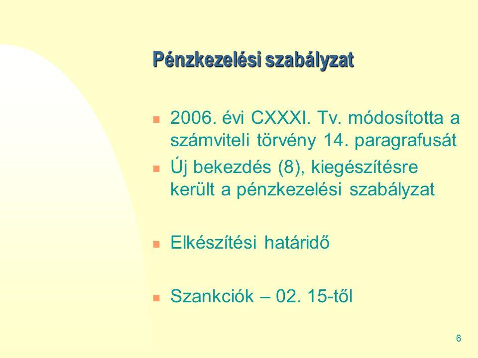 6 Pénzkezelési szabályzat 2006.évi CXXXI. Tv. módosította a számviteli törvény 14.