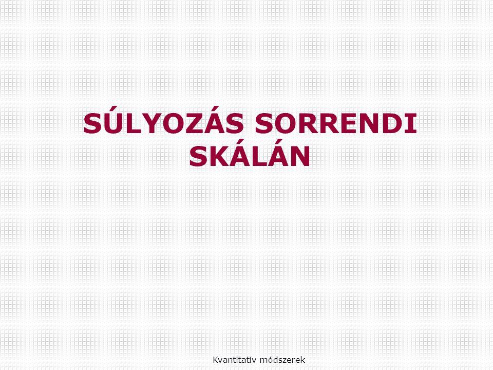 SÚLYOZÁS SORRENDI SKÁLÁN Kvantitatív módszerek