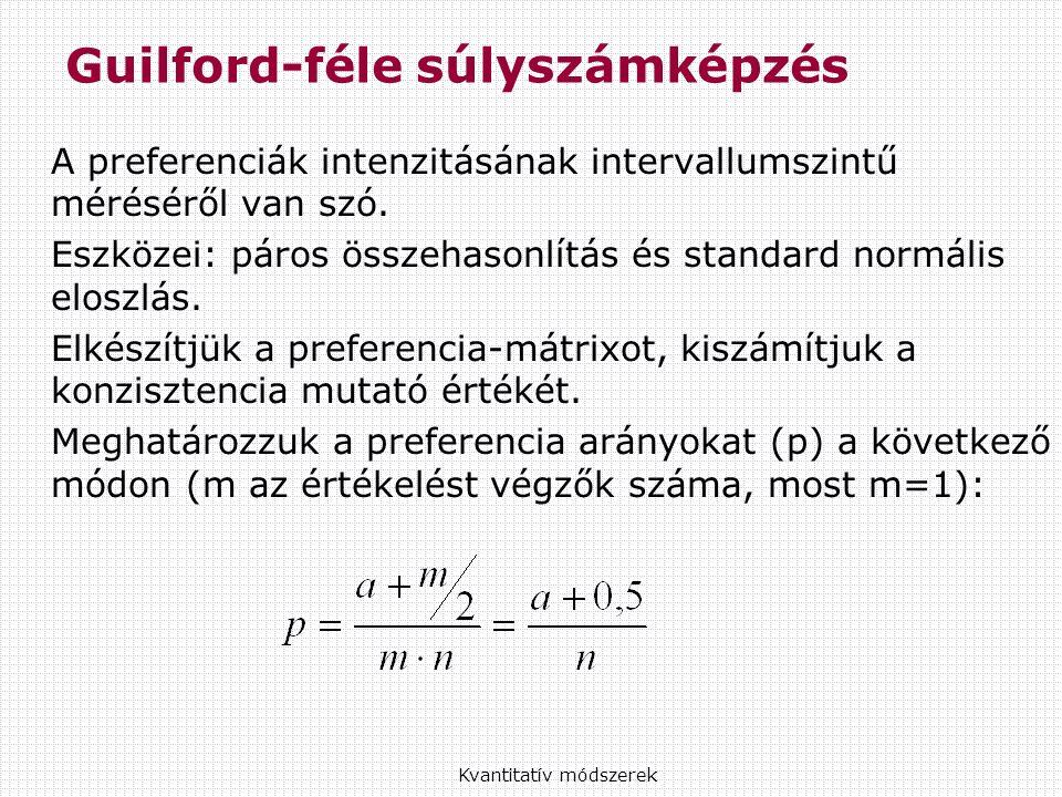 Guilford-féle súlyszámképzés A preferenciák intenzitásának intervallumszintű méréséről van szó.