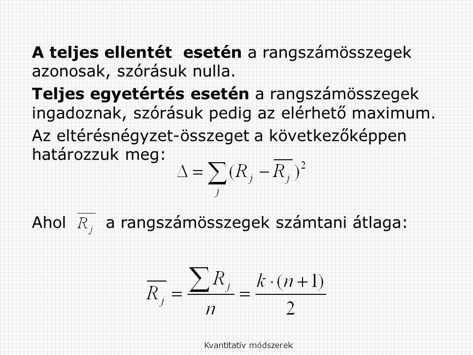 Kvantitatív módszerek A teljes ellentét esetén a rangszámösszegek azonosak, szórásuk nulla.