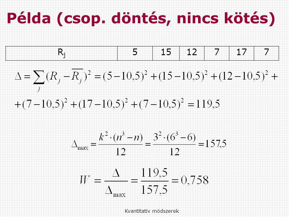 Kvantitatív módszerek Példa (csop. döntés, nincs kötés) RjRj 515127177