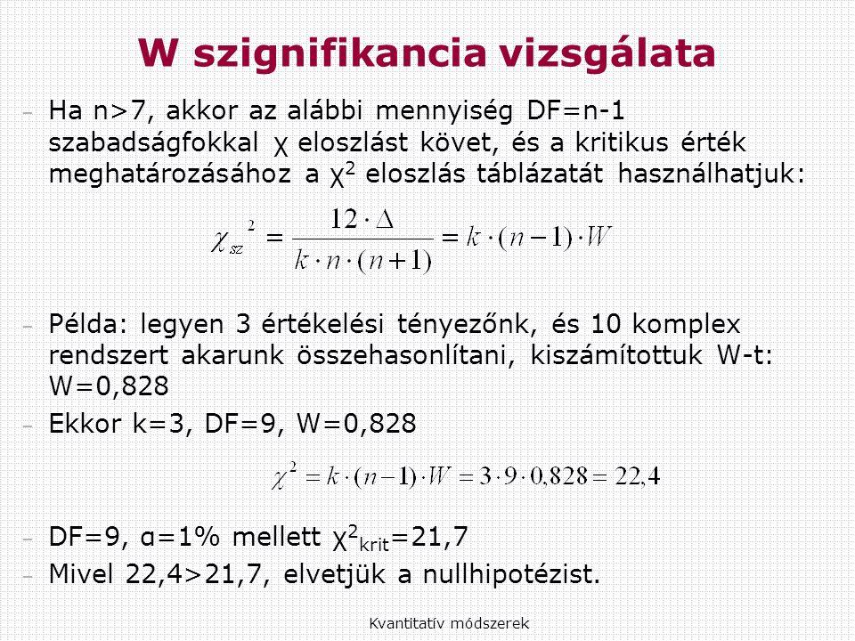 – Ha n>7, akkor az alábbi mennyiség DF=n-1 szabadságfokkal χ eloszlást követ, és a kritikus érték meghatározásához a χ 2 eloszlás táblázatát használhatjuk: – Példa: legyen 3 értékelési tényezőnk, és 10 komplex rendszert akarunk összehasonlítani, kiszámítottuk W-t: W=0,828 – Ekkor k=3, DF=9, W=0,828 – DF=9, α=1% mellett χ 2 krit =21,7 – Mivel 22,4>21,7, elvetjük a nullhipotézist.