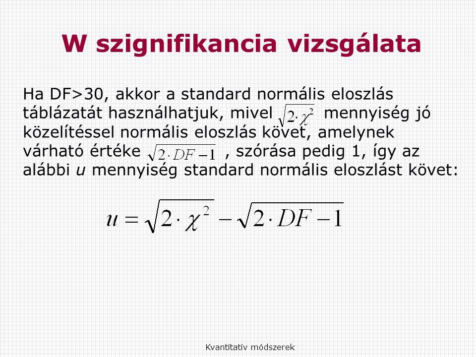 Ha DF>30, akkor a standard normális eloszlás táblázatát használhatjuk, mivel mennyiség jó közelítéssel normális eloszlás követ, amelynek várható értéke, szórása pedig 1, így az alábbi u mennyiség standard normális eloszlást követ: Kvantitatív módszerek W szignifikancia vizsgálata