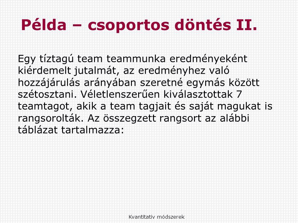 Egy tíztagú team teammunka eredményeként kiérdemelt jutalmát, az eredményhez való hozzájárulás arányában szeretné egymás között szétosztani.
