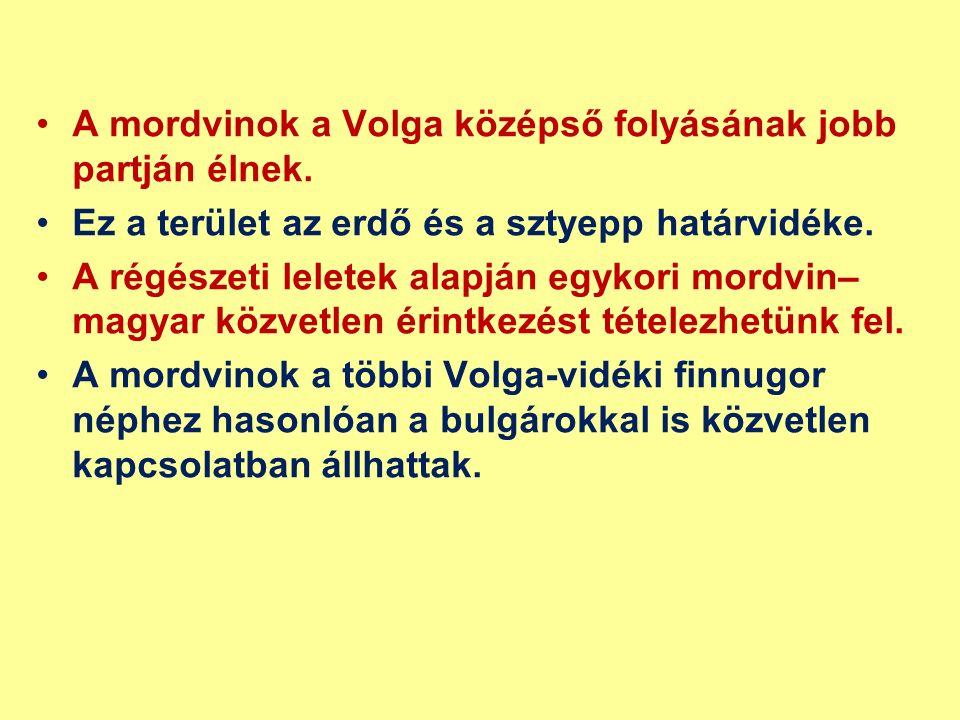 A mordvinok a Volga középső folyásának jobb partján élnek. Ez a terület az erdő és a sztyepp határvidéke. A régészeti leletek alapján egykori mordvin–