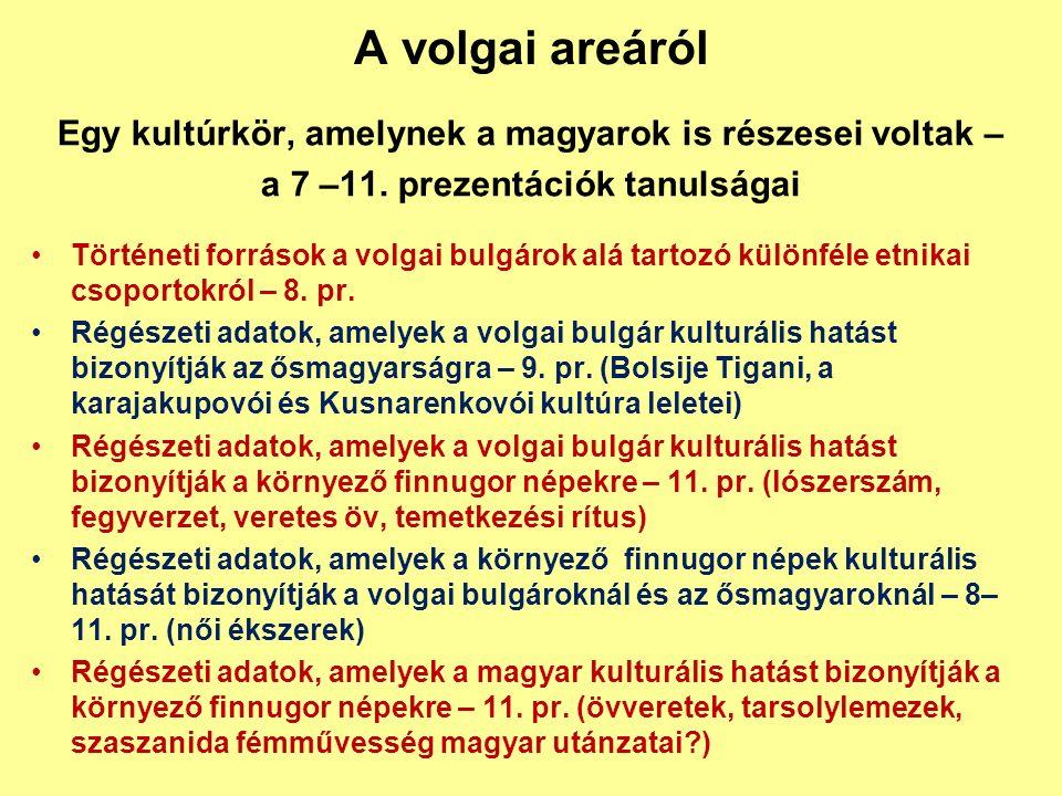 A volgai areáról Egy kultúrkör, amelynek a magyarok is részesei voltak – a 7 –11. prezentációk tanulságai Történeti források a volgai bulgárok alá tar