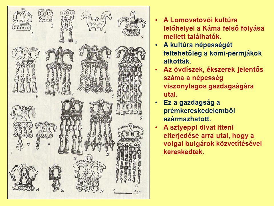 A Lomovatovói kultúra lelőhelyei a Káma felső folyása mellett találhatók. A kultúra népességét feltehetőleg a komi-permjákok alkották. Az övdíszek, ék