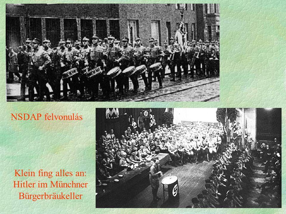 Klein fing alles an: Hitler im Münchner Bürgerbräukeller NSDAP felvonulás