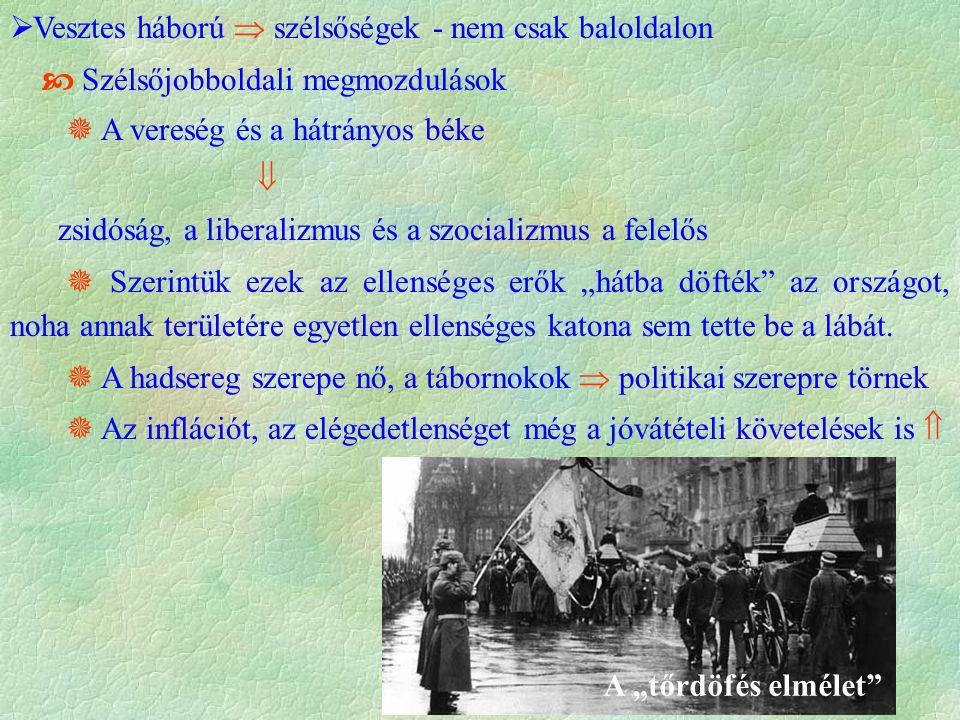  A válság   politikai egyensúlyt  törvényesen akarnak hatalomra kerülni  Társadalom meggyőzése  Kiutat az erőre és a hatalom tiszteletére épülő társadalom jelenti  Az egymást követő választásokon a párt egyre több szavazatot szerez,  1932-re az ország legerősebb pártja lesz  Jó kommunikáció  elhitetik a vagyonosokkal (Harzburgi front)  csak ők tudják megakadályozni a kommunista előretörést