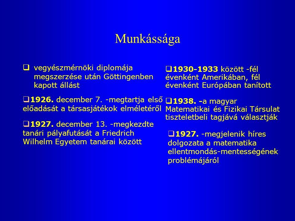 Munkássága  vegyészmérnöki diplomája megszerzése után Göttingenben kapott állást  1930-1933 között -fél évenként Amerikában, fél évenként Európában tanított  1926.