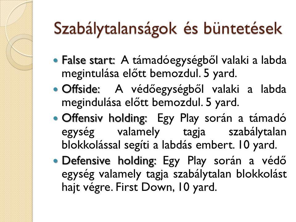 Szabálytalanságok és büntetések False start: False start: A támadóegységből valaki a labda megintulása előtt bemozdul.