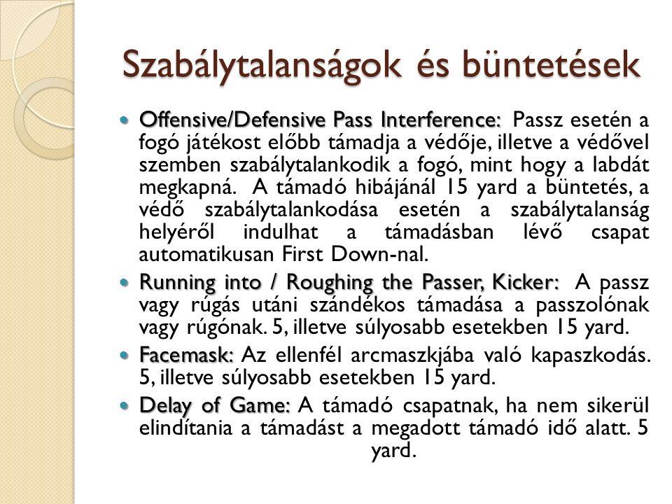 Szabálytalanságok és büntetések Offensive/Defensive Pass Interference: Offensive/Defensive Pass Interference: Passz esetén a fogó játékost előbb támadja a védője, illetve a védővel szemben szabálytalankodik a fogó, mint hogy a labdát megkapná.