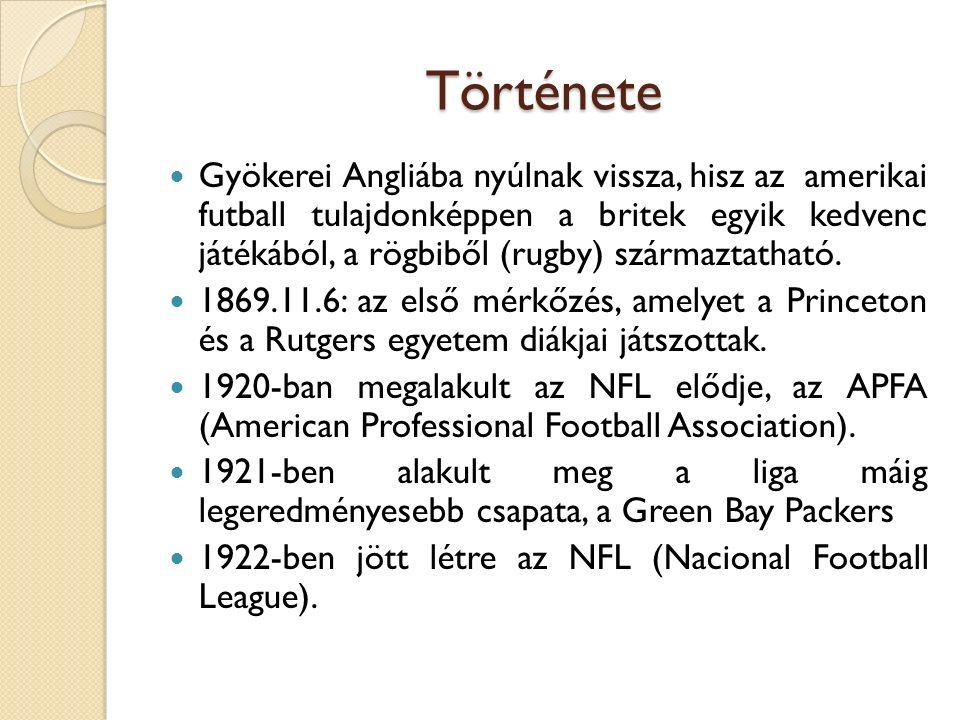 Története Gyökerei Angliába nyúlnak vissza, hisz az amerikai futball tulajdonképpen a britek egyik kedvenc játékából, a rögbiből (rugby) származtatható.