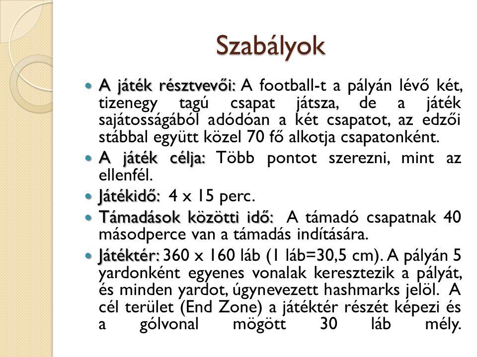 Szabályok A játék résztvevői: A játék résztvevői: A football-t a pályán lévő két, tizenegy tagú csapat játsza, de a játék sajátosságából adódóan a két csapatot, az edzői stábbal együtt közel 70 fő alkotja csapatonként.