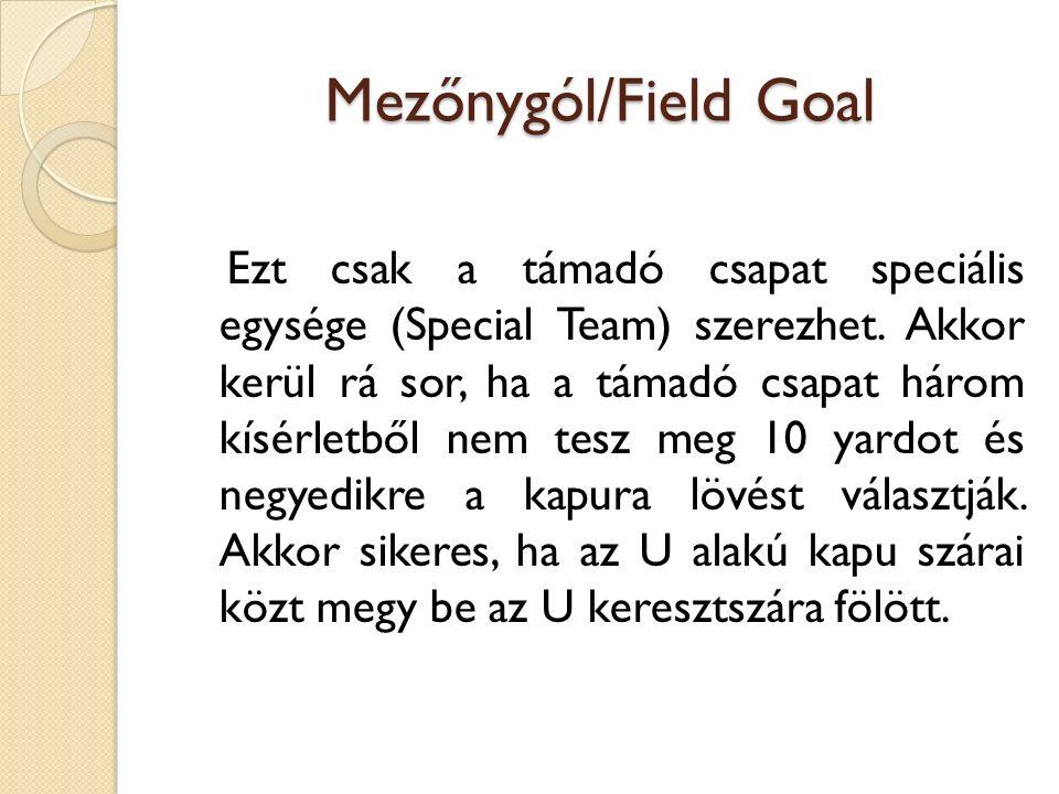 Mezőnygól/Field Goal Ezt csak a támadó csapat speciális egysége (Special Team) szerezhet.