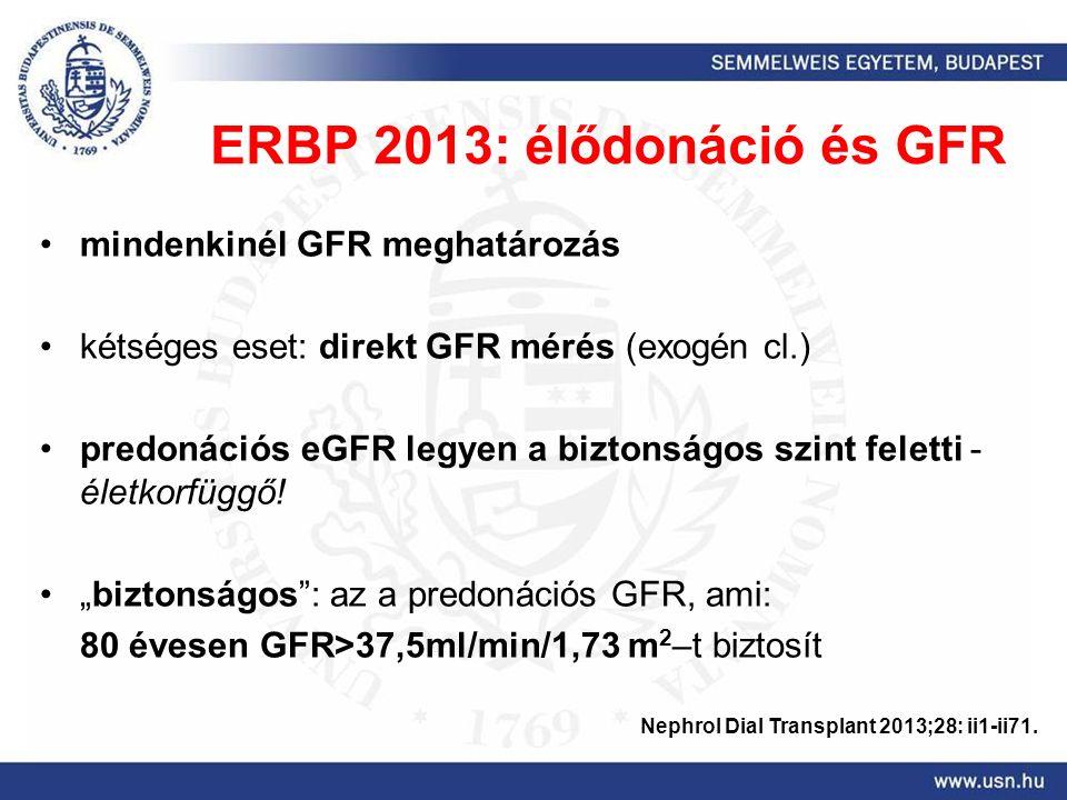 ERBP 2013: élődonáció és GFR mindenkinél GFR meghatározás kétséges eset: direkt GFR mérés (exogén cl.) predonációs eGFR legyen a biztonságos szint feletti - életkorfüggő.