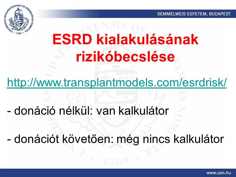 http://www.transplantmodels.com/esrdrisk/ - donáció nélkül: van kalkulátor - donációt követően: még nincs kalkulátor ESRD kialakulásának rizikóbecslése