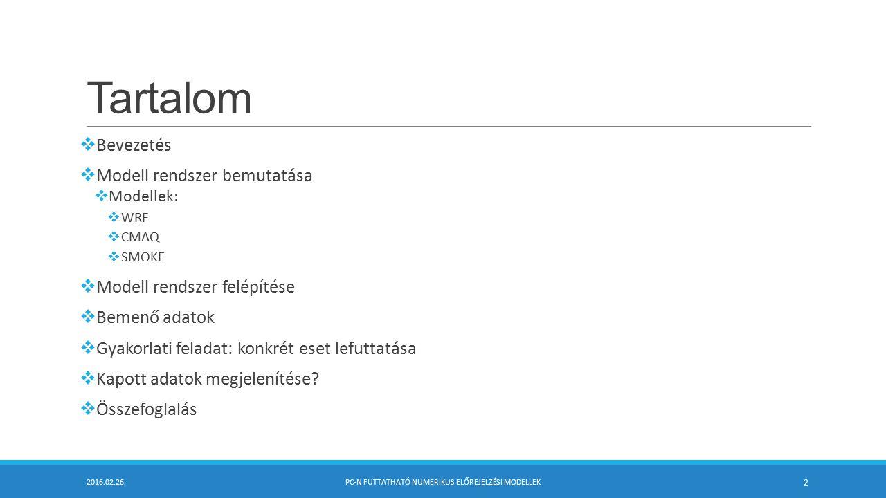 Kimenő adatok megjelenítése  Különböző netCDF megjelenítő szoftverek vannak (ncview, grADS, GAMAP, NCAL)  VERDI megjelenítő szoftvert a CMAS fejlesztette ki  Unix és Windows felületre is  Unix: Letöltés, kicsomagolás, verdi.sh beállítása és futtatása  Windows: Verdi.exe elindítása  Fájl megnyitása után a kiválasztott szennyező anyagot a Fast Tile plot gombbal egyszerűen megjeleníthetjük  Különböző ábrázolási és statisztikai beállítások lehetségesek  Megjelenítés: oszlop és vonal diagram, scatter diagram (x-y diagram), vertikális profil, vektoros ábrázolás, animáció, 3D-s vertikális profil  Statisztikai: minimum, maximum, átlag, mértani közép, medián, alsó és felső kvartilis, szórás, kofficiens, range, interkvartilis range, minimum időlépcsőnként, maximum időlépcsőnként 2016.02.26.PC-N FUTTATHATÓ NUMERIKUS ELŐREJELZÉSI MODELLEK 23 Felhasználónév: LADQAAT (kicsi!) Jelszó: LDora1989