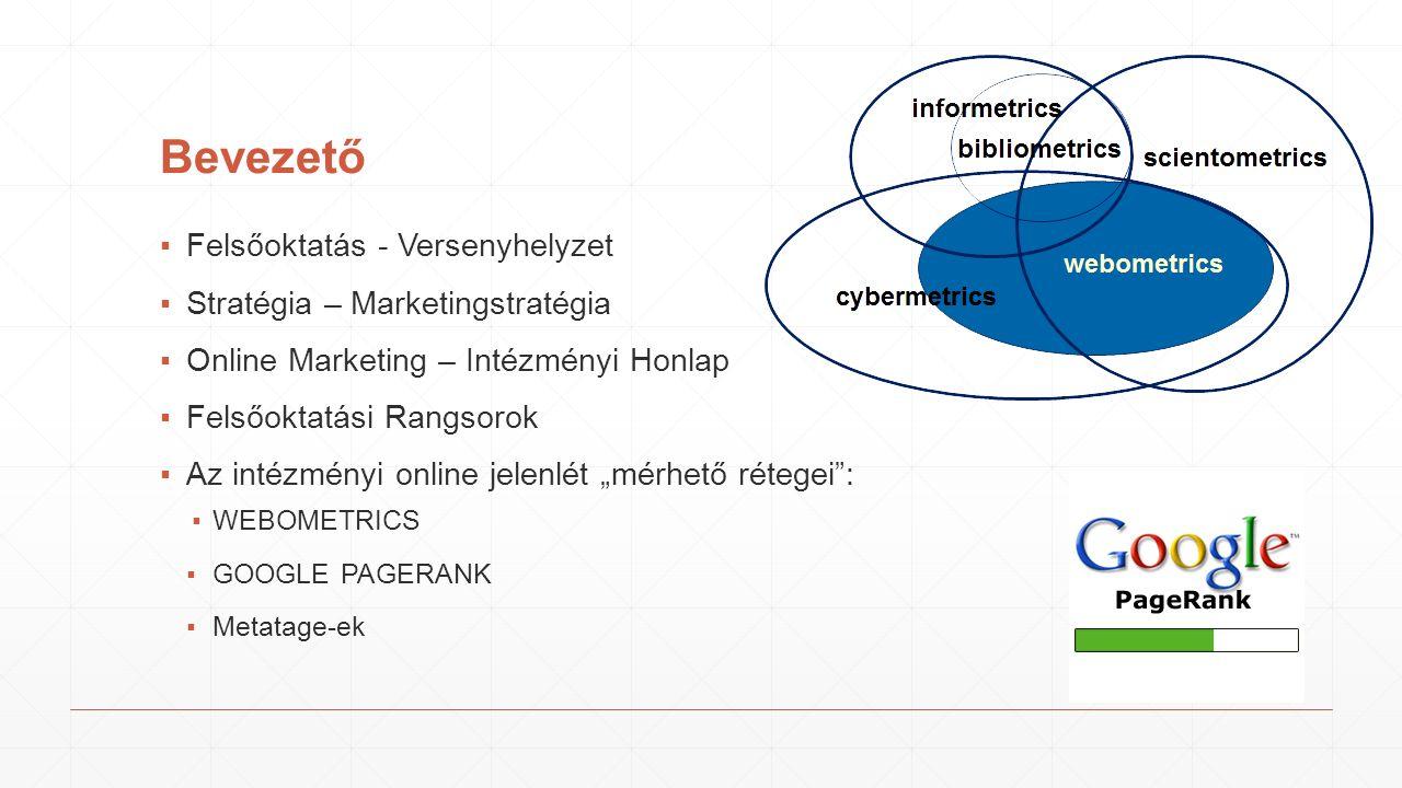 """Bevezető ▪Felsőoktatás - Versenyhelyzet ▪Stratégia – Marketingstratégia ▪Online Marketing – Intézményi Honlap ▪Felsőoktatási Rangsorok ▪Az intézményi online jelenlét """"mérhető rétegei : ▪WEBOMETRICS ▪GOOGLE PAGERANK ▪Metatage-ek"""