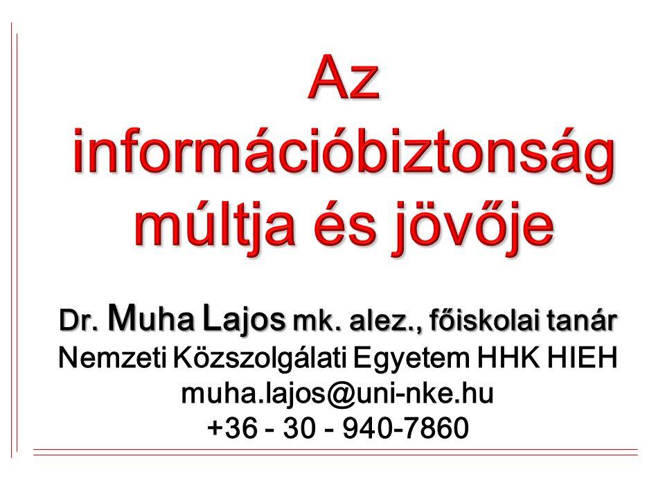 Dr. M uha L ajos mk. alez., főiskolai tanár Dr. M uha L ajos mk.